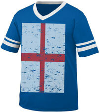 Flag Of England Faded St George's Cross English Britain Men's V-Neck Ringer Tee
