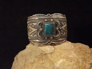 Navajo Delbert Gordon Royston Turquoise & SS Bracelet - Stamping & Repousse