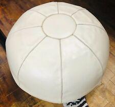 Globe cream colour leather seat ottoman from Morocco