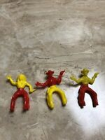 vintage red yellow cowboy indian plastic toy Twists And Turn At Half Sit Horse