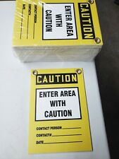 """(Lot of 25) 7""""x10"""" CAUTION Enter Area With Caution Chloroplast Sign Safety"""
