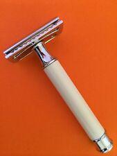 New Vintage White Handel Safety Razor +double edge shaving blades shaver