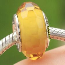 925 Sterling Silver Golden Faceted Murano Glass Charm Fit European Bracelet Bead