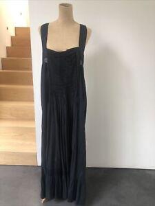 Malene Birger Loose Fit Pin tuck long Frill Hem T back Dress Black Size 40