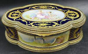 French Sevres Cobalt Blue Porcelain Jewelry Box by Rochette Draped Lady & Cherub