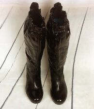 Coach Ceejay Rain Boots Women's 6b Knee High Slouch Wedge Patent Leather