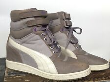Puma Sky Hi CONTACT Wedge Fashion Sneakers Trainer Women's 9.5 Grey Violet Shoes