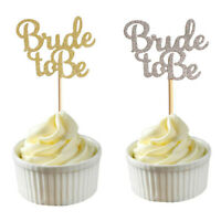 10x Glitter Bride To Be Cupcake Toppers Bridal Shower Wedding Decor Cake Pick FT