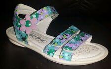 Naturino girls green flower sandals leather size EU 24 US 8 New