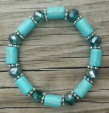 """Simulated Turquoise Stretch Bracelet with Beautiful Bead Accents, 7-11"""""""