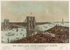 Currier & Ives Art: Brooklyn Bridge - The East River Bridge #1  - Fine Art Print