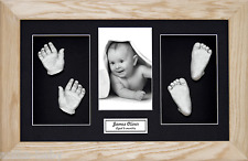 New Christening Large Baby Casting Kit Silver Hand&Feet 3D Solid Oak Wood Frame
