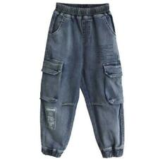 Kids Boys Denim Jeans Loose Cargo Pants Childrens Pocket Casual Cropped Trousers