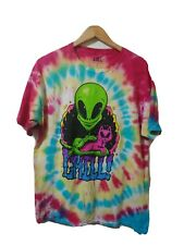 Iml Mens Graphic Tee Size L Tye Dye Short Sleeve Cotton Alien Cat Chill!