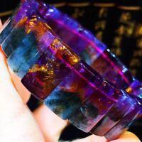 Natural Auralite 23 Crystal Gemstone Rectangle Beads Elastic Bracelet 43.5g