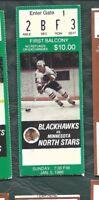 1986 1/5 ticket stub Minnesota North Stars v Chicago Blackhawks Chicago Stadium