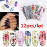 Flower Transfer Nail Foil Holographic Decals Manicure Decor Nail Art Stickers-