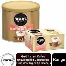 Nescafe Gold Instant Coffee Unsweetened Cappuccino Granules 1kg or 50 Sachets