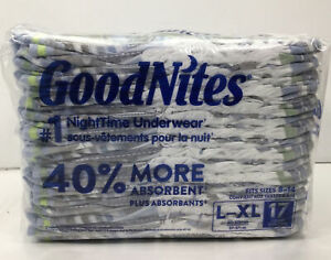 Goodnites, (34) Nighttime Bedwetting Underwear L/XL Fits Sizes 8-14