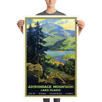 Adirondack Travel Poster Print - Vintage Lake Placid New York Poster Art