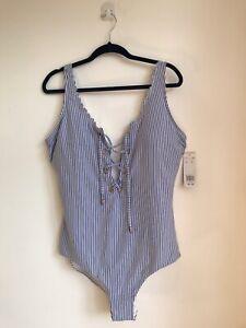 BNWT LADIES GORGEOUS SWIM COSTUME BLUE & WHITE PLUS SIZE UK 22