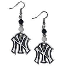 New York Yankees Dangle Earrings (Fan Bead) MLB Licensed Jewelry