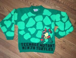 Teenage Mutant Ninja Turtles 1990 Sweater Youth Medium Vtg 90s Raphael All Over