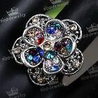 1x Tibetan Silver Motley Colorful Crystal Flower Adjustable Finger Ring