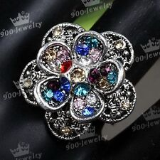 1x Tibetan Silver Motley Colorful Crystal Flower Adjustable Finger Ring