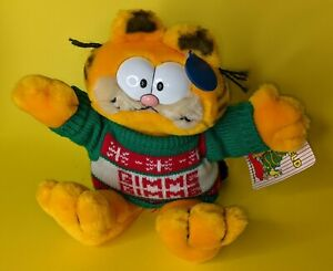 "Garfield 12"" plush with Gimme Gimme sweater 1981 Dakin"