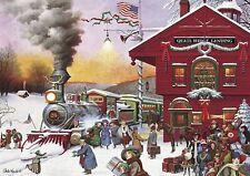 "Wysocki ""Whistle Stop Christmas"" Holiday 500 PC Puzzle Buffalo Games Train"