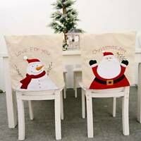 Christmas Chair Seat Cover Home Xmas Santa Claus Party Festival Decor Slipcover
