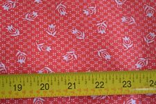 "By 1/2 Yd, 47"" Wide, Vintage White on Red Stiffer Cotton Plisse, N97"