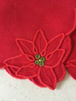 New Madeira Portugal Linen Red Holiday  Christmas Poinsettia 8 Napkins Set