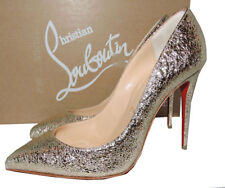 Christian Louboutin PIGALLE Follies Pumps 38.5 Platinum Leather Pointy Toe Shoes