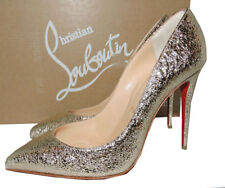 Christian Louboutin PIGALLE Follies Pumps 41 Platinum Leather Pointy Toe Shoes