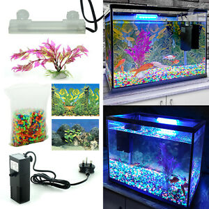 18L 26L Aquarium Fish Tank Kit Glass Starter Set LED Light Net Air Pump Filter