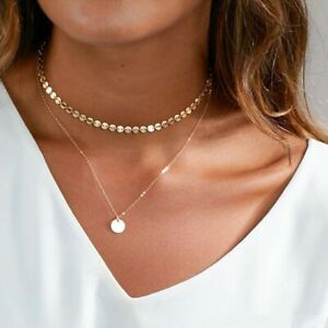 Coin Pendant Double Layer Choker Necklace For Women Fashion Jewellery