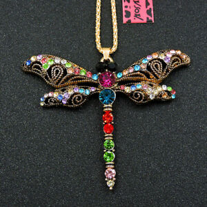 Betsey Johnson Colorful Crystal Cute Dragonfly Animal Pendant Chain Necklace