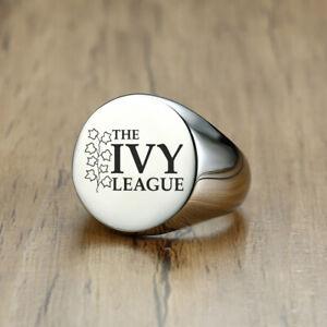 Men Signet Ring University IVY College Graduation Personalized Free Engraving