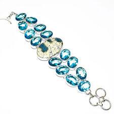 """K2 Jasper ,Swiss Blue Topaz Gemstone 925 Silver Jewelry Bracelet 7-8"""""""