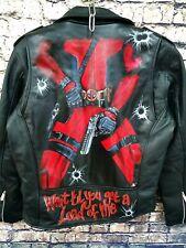 Deadpool Comic Custom Hand Painted Leather Biker Jacket one of a kind