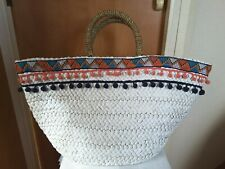 Atmosphere White Woven Wicker Shopping Beach Bag Pom Pom Trim