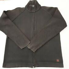 Hugo Boss Zipped Jumper / Sweatshirt in dark green genuine orange label size L