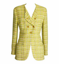 Chanel Jacket Yellow Fantasy Tweed Gold  CC Buttons Vintage fits  8  mint