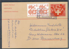 Schweiz Helvetia 1983 Ganzsache Zusatz Einnehmerei KREUZLINGEN BRAUNSCHWEIG