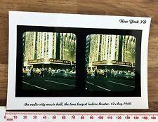 RADIO CITY MUSIC HALL THEATRE Photo Paper Colour Stereoview 1960s New York