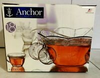 "Vintage Anchor Hocking ""Savanah"" 18 piece Punch Bowl Set with Ladle"