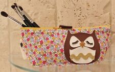 Owl Retro Ditsy Floral Make Up Bag Cosmetic Case Handmade Animal Lovers Gift