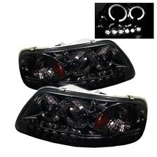 Pair LED Halo Projector Head Lights Lamps 1PC Ford F150 Expedition 97-03 Smoke
